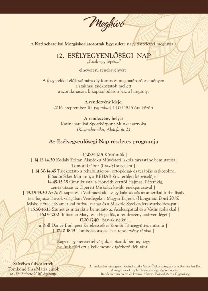 12. Esélyegyenlőségi Nap @ Kazincbarcikai Sportközpont Munkacsarnoka | Kazincbarcika | Borsod-Abaúj-Zemplén | Magyarország