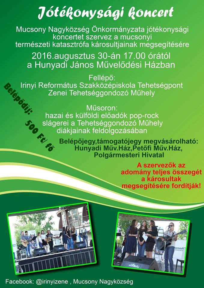 Jótékonysági koncert @ Hunyadi János Művelődési Ház | Múcsony | Borsod-Abaúj-Zemplén | Magyarország