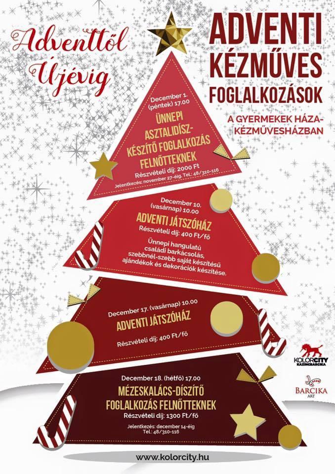 Adventi kézműves foglalkozások a Gyermekek Háza-Kézművesházban @ Gyermekek Háza-Kézművesház | Kazincbarcika | Magyarország