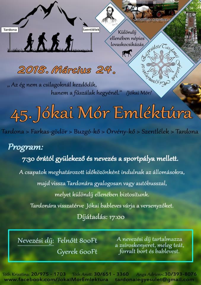45. Jókai Mór Emléktúra @ Tardonai Fiatalok Hagyományőrző Egyesülete | Tardona | Magyarország